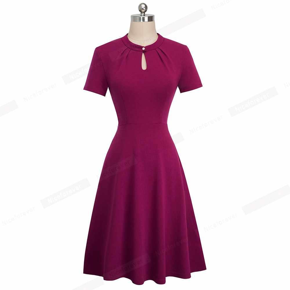Хорошее-forever, винтажное, Ретро стиль, чистый цвет, открытые, на пуговицах, vestidos, деловые, вечерние, для женщин, расклешенное, женское, свободное платье, A144