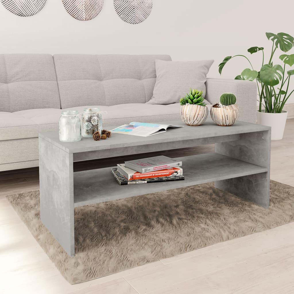 VidaXL Coffee Table Concrete Grey 100x40x40 Cm Chipboard