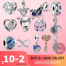 Silver Charm 925 Sterling Silver Ladybug infinity footprint Beads Pink Clear CZ Charms Fit Original Pan Bracelet Jewelry