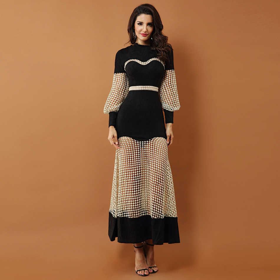 Seamyla женское макси платье новая мода выдалбливают сетки знаменитостей вечерние платья с длинным рукавом черное лоскутное подиумное летнее платье