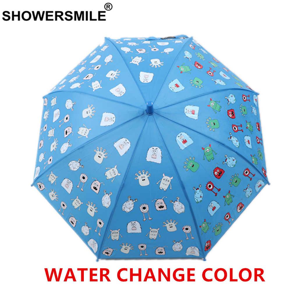 Showersmile crianças guarda-chuva azul mudança cor guarda-chuva para crianças animal dos desenhos animados menina meninos chuva kawaii bonito impresso guarda-chuva