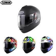 Soman Full Face Helmet DOT Matte Black Motorcycle Helmet Coo