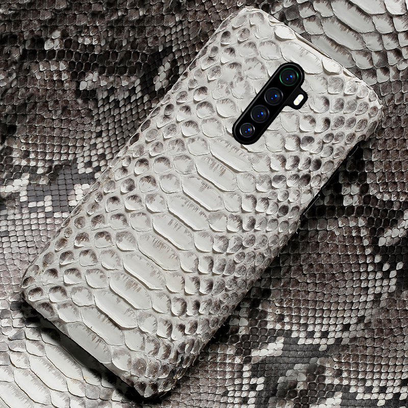 Luxury Genuine Python Leather Phone Case for Realme X2 Pro X XT <font><b>5</b></font> Pro Snakeskin Cover For OPPO A5 A9 2020 Reno Ace 2 <font><b>3</b></font> Find X2 image