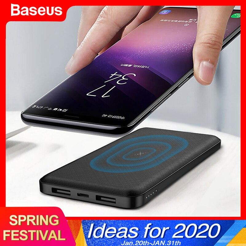 Baseus 10000mAh Qi Drahtlose Ladegerät Power Bank Externe Batterie Drahtlose Aufladen Power Für iPhone11 X Samsung huawei Xiaomi