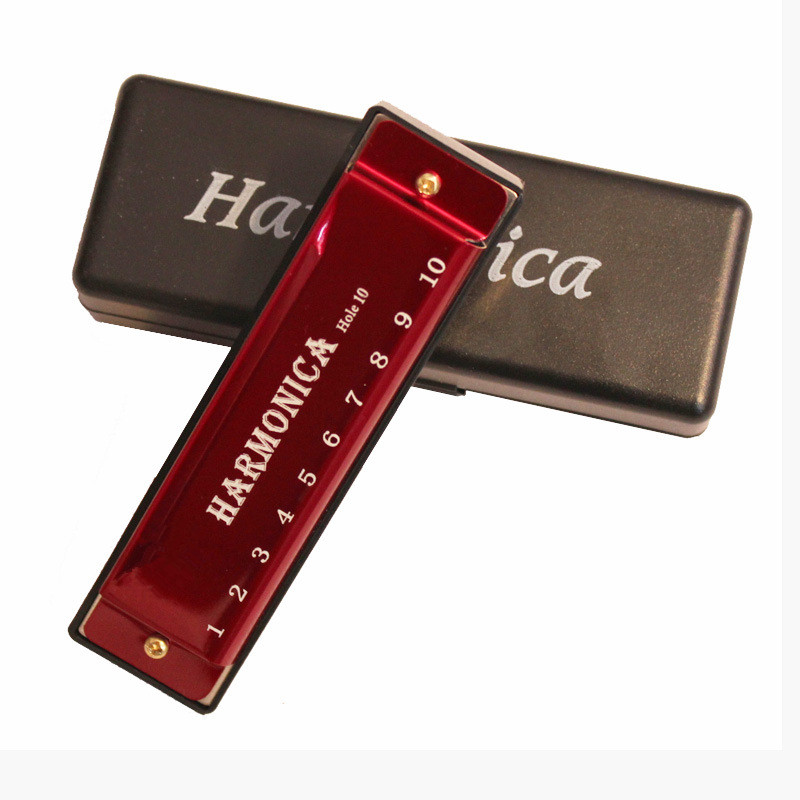 10 Holes Key Of C Blues Harmonica Musical Instrument Educational Toy With Case Children Chromatic Harmonica Gift For Kids