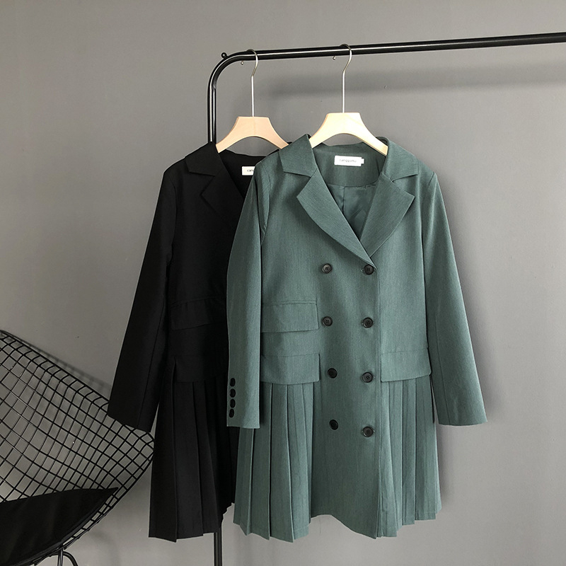 Mooirue Winter 2019 Femme Elegant Blazer Dress Suit Long Cardigan Loose Feminino Green Black Blazer Coat For Fall
