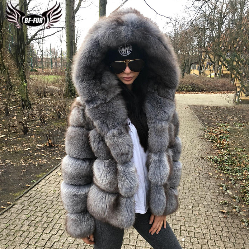 Winter Fashion Grey Thick Genuine Fox Fur Coat With Big Hood Natural Pelt Real Fox Fur Jacket For Women Luxury Overcoat 2019
