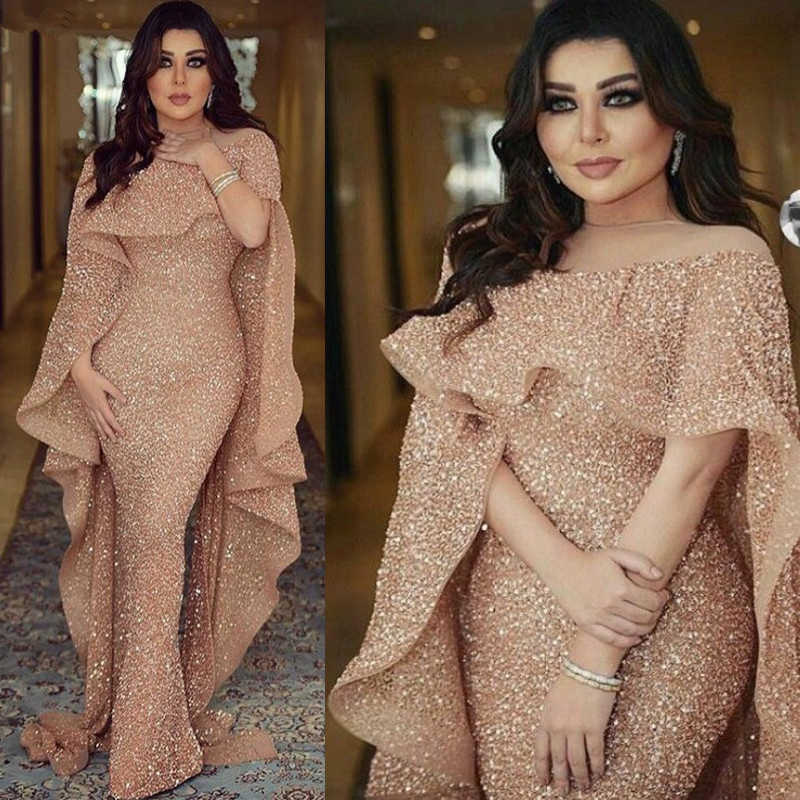 Сверкающее блестящее вечернее платье с пайетками длинное 2020 Русалка розовое золото Дубай Саудовская Арабская вечернее платье для выпускного вечера вечерние платья Robe De Soiree