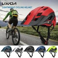 Lixada leve ciclismo capacete da bicicleta com viseira destacável mountain bike esportes de segurança capacete protetor 16 aberturas