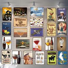Letrero de café de cerveza belga, placa de Metal, platos Vintage para arte de pared, tienda de hogar, decoración de restaurante Vintage, 30X20CM DU-3599A