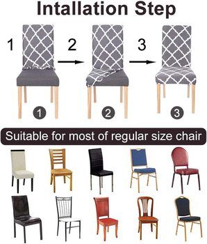 1/2/4/6Pc Removable Chair Covers For Dining Room 3 Chair And Sofa Covers