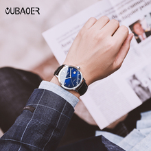 OUBAOER 2019 men's watches top luxury brand leather business Automatic watch Calendar display clock waterproof relogio masculino