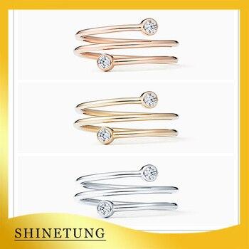 1 1 modelo Original S925 anillo de plata esterlina anillo de círculo dorado clásico de moda logotipo de las señoras joyería regalo de cumpleaños