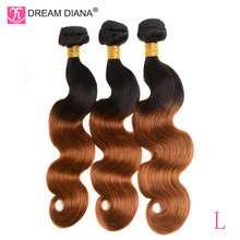 "DreamDiana Ombre Malaysian Body Wave 10""-26""Ombre 3 Bundles Two Tones 1B/30 L Colored Remy Weave Bundles 100% Ombre Human Hair(China)"