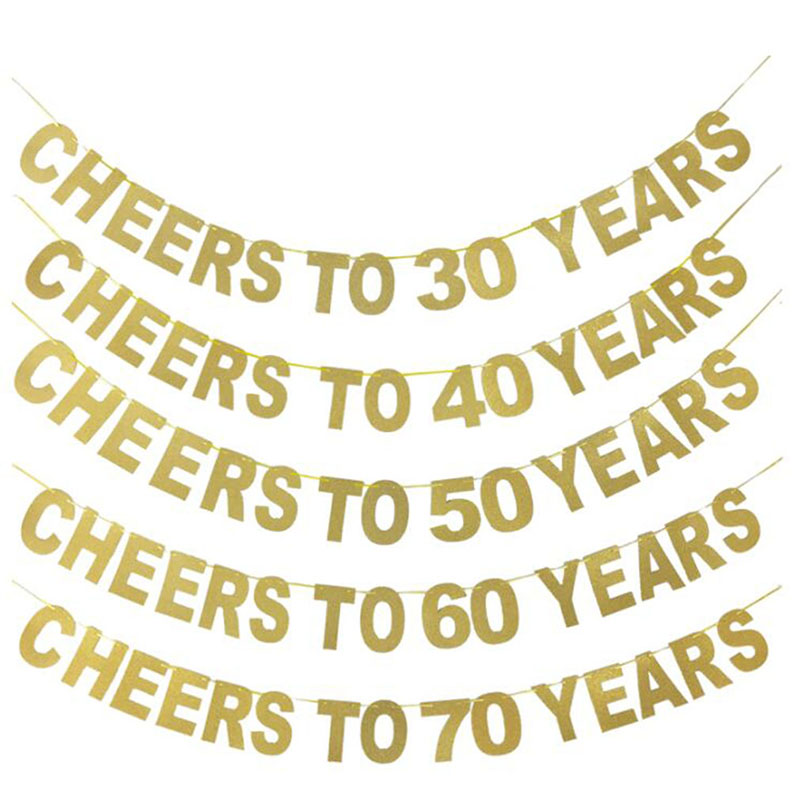 Hot Sale Gold Glitter Banner Cheers To <font><b>30</b></font> <font><b>40</b></font> <font><b>50</b></font> <font><b>60</b></font> <font><b>70</b></font> Years Letter Birthday Party Banner Garland Wedding Celebration Decoration image