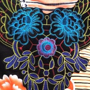 Image 5 - 2020 vêtements africains pour femmes Dashiki mode impression Design Applique Orange 100% coton ample Maxi robe avec écharpe pour les vacances