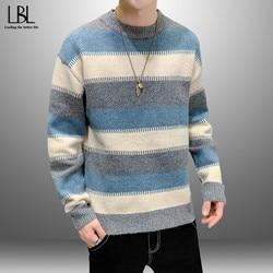 Pull hommes Patchwork tricots hommes chandails chaud col rond coton pulls décontractés hommes 2021 printemps coréen Style pull