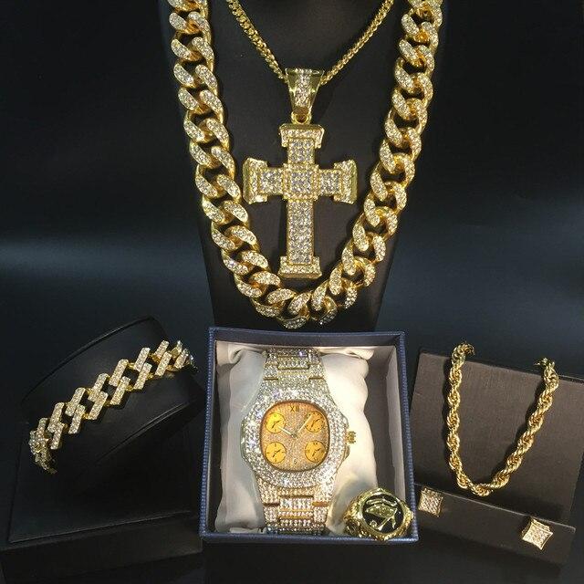 Conjunto de reloj y collar y pulsera y anillo de lujo para hombre, conjunto combinado de joyas de reloj cubano, cadena de Hip Hop 2