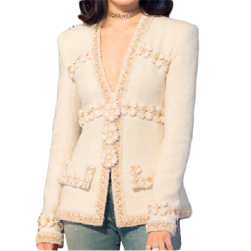Coat Outerwear Flower Tweed Jacket Elegant Designer Women Runway Beading 3D Slim Deep-V-Neck