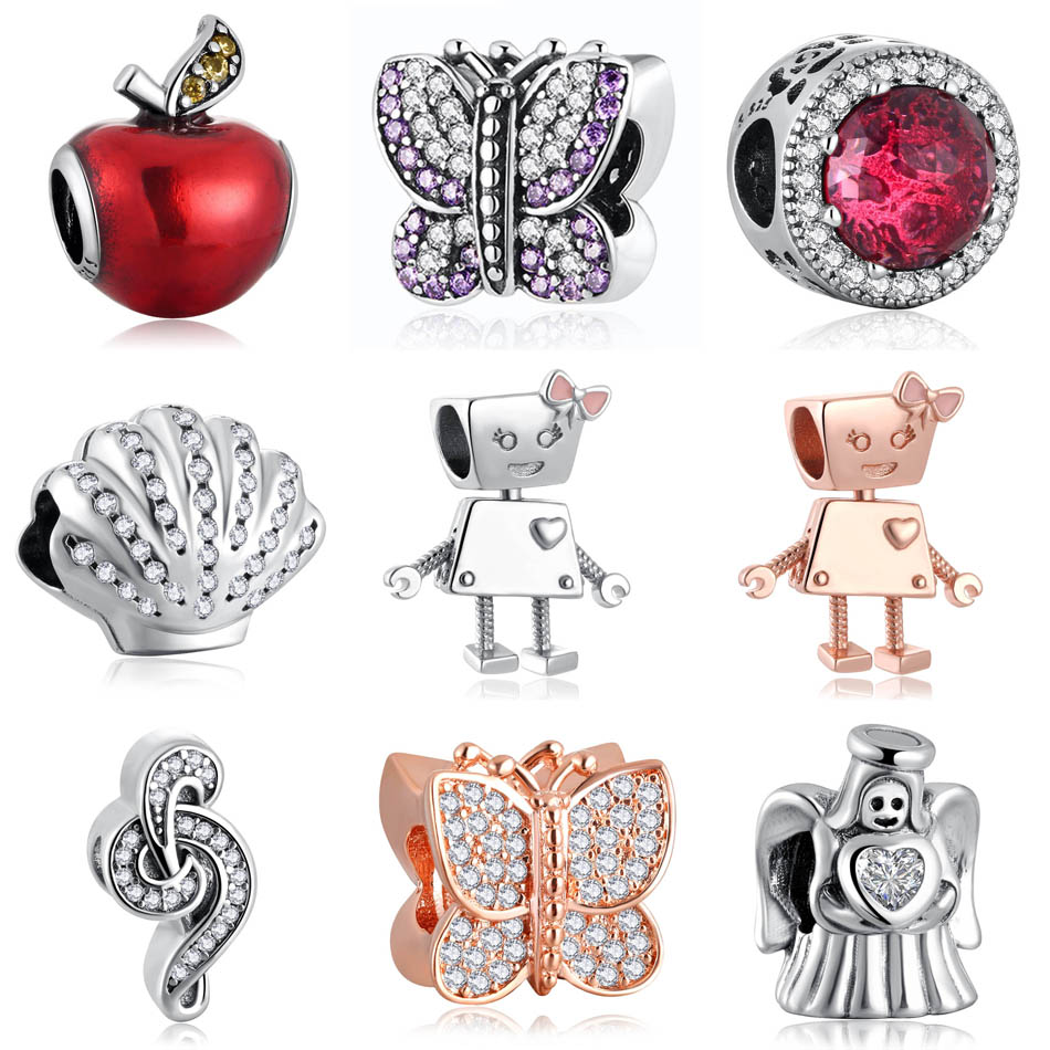 Authentic S925 Silver Bead Radiant Rose Apple Butterflies Bow Robot Angel Music Treble Cle Charm fit Pandora Bracelets title=