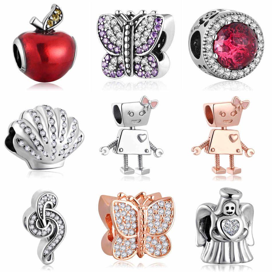 Аутентичные S925 бусины лучистое розовое яблоко бабочки лук робот Ангел Музыка тройной круг Шарм fit Pandora Браслеты