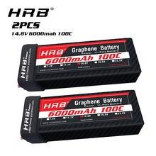 Bateria de grafeno rc de 2 peças, hrb 4S lipo 14.8v 6000mah 100c com tomada t para avião de helicóptero drone quadricóptero automotivo, caminhão, barco