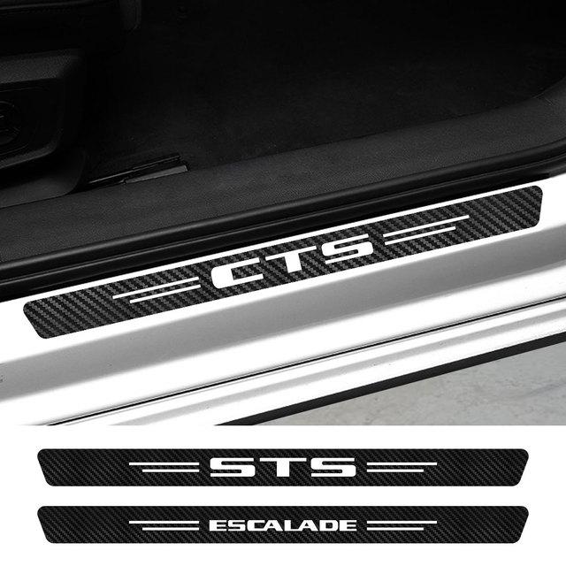 4PCS Car Door Sill Sticker For Cadillac ATS BLS CT4 CT5 CT6 CTS Escalade EXT SLR SLS SRX STS XLR XT4 XT5 XT6 XTS Accessories 1