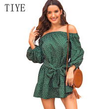 TIYE Women Off Shoulder Print Polka Dot Lantern Sleeves High Waist Short Dress Autumn Long Sleeve Wrap Casual Boho Party Dress plus tie waist dot print off shoulder dress