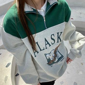 Vintage Fashion Women Cotton Stand Collar Zipper Alaska Letter Printing Long Sleeve Sweatshirts Casual Loose Sweatshirt 2021 Hot 1