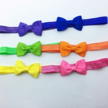 цена на 20pcs/lot kids Small Lovely Bow Tie Headband DIY Bow-knot Grosgrain Ribbon Bow Elastic Hair Bands Hair Accessories