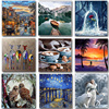 Animal Painting By Numbers Landscape Set Acrylic Paint DIY Kits For Adults Pictures Drawing Canvas Coloring By Number Decoration