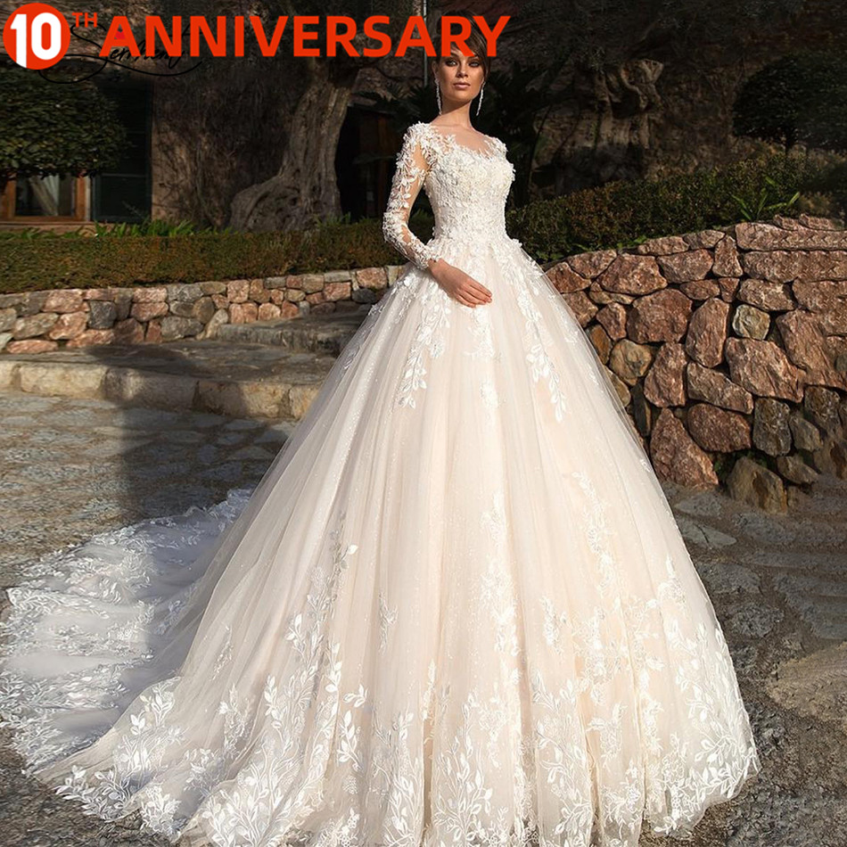 BAZIIINGAAA  Luxury  Long Sleeve Applique Lace Crew Neck Wedding Dress for French Brides and Muslims Support Tailor-made