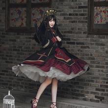 Gotycki ciemny pałac słodka księżniczka sukienka lolita vintage wysokiej talii drukowanie sukienka w stylu wiktoriańskim kawaii dziewczyna Gothic lolita cos loli tanie tanio NoEnName_Null CN (pochodzenie) WOMEN Pełna Kostiumy Poliester Lolita Ubiera 1108