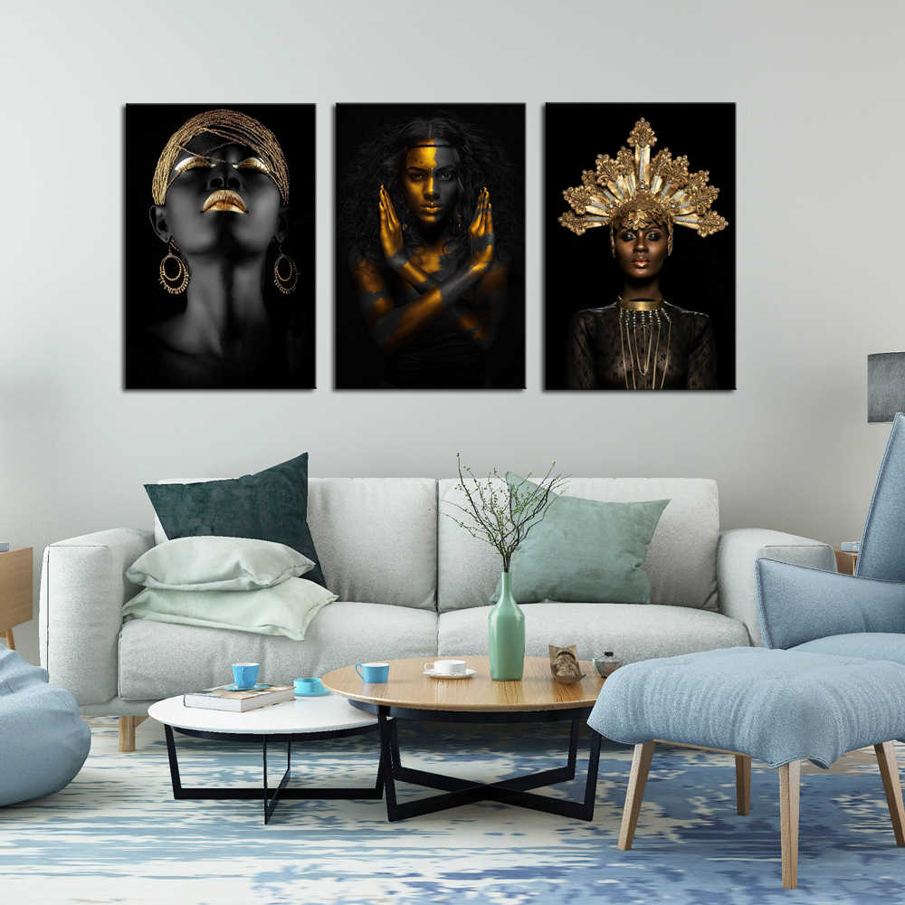 Black African Woman Canvas Girl with Gold Face Paint Best Of Black and Gold Body Paint Poster Modern Home Decor Drop shipping