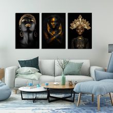 Black African Woman Canvas Girl with Gold Face Paint Best Of and Body Poster Modern Home Decor Drop shipping