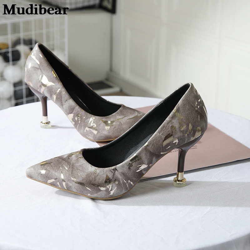 Купить туфли лодочки mudibear женские высокий каблук вышивка модные