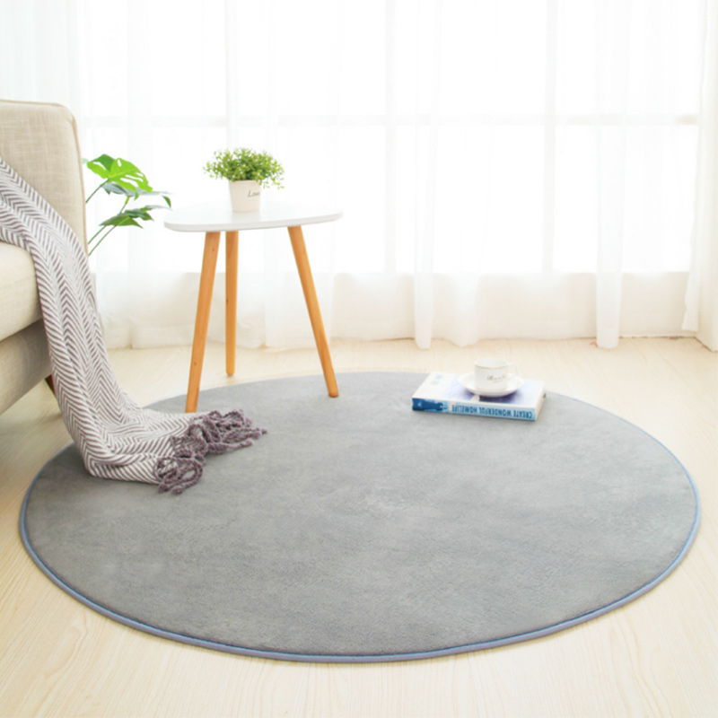 Thick Coral Fleece Round Carpet Living Room Bedroom Coffee Table Rug Absorbent Mat Balcony Mat Gray Beige