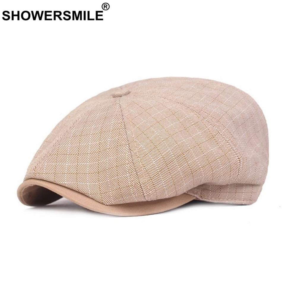 SHOWERSMILE Spring Summer Newsboy Caps for Men Khaki Cotton Linen Checked Flat Cap Plaid Duckbill British Style Flat Hat Fitted