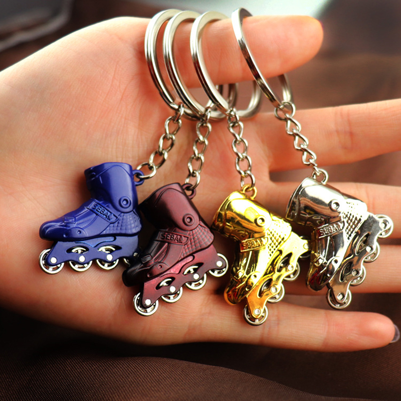 Novelty Simulation Rollerable Inline Skates SEBA Key Chain For Skating Accessories With Wheel Rotating, Stainless Steel Toy Gift