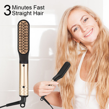 купить ANLAN Hair Straightening Comb Brush 60S Fast Heat PTC Hair Care Hair Straightener Comb Electric Heating Straight Hair Comb EU US по цене 837.52 рублей