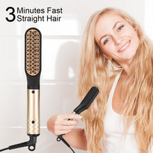 ANLAN Hair Straightening Comb Brush 60S Fast Heat PTC Hair Care Hair Straightener Comb Electric Heating Straight Hair Comb EU US(China)