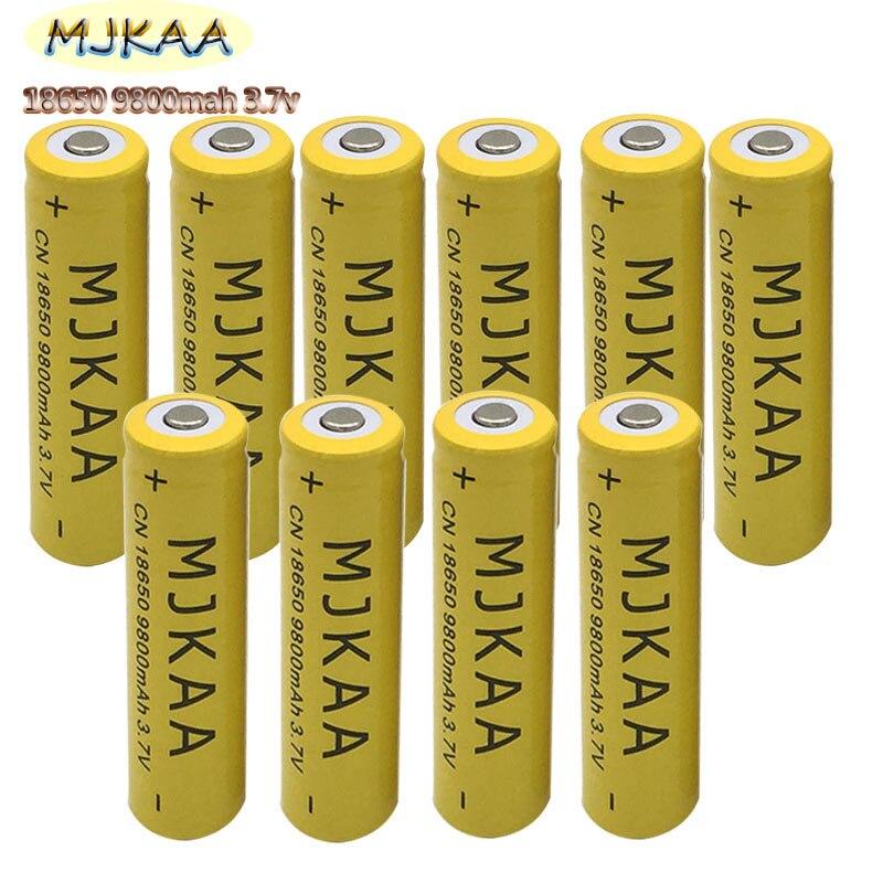 10pcs 18650 Battery 3.7V 9800mAh Rechargeable Li-ion   For Led Flashlight Batery Litio Battery Cell