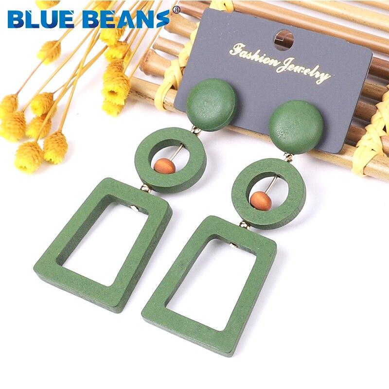 BLUE BEANS 2020 Wooden Earrings Fashion Jewelry Drop Earrings For Women Red Earrings Bohemia Girls Korean Dangle Gold Earring