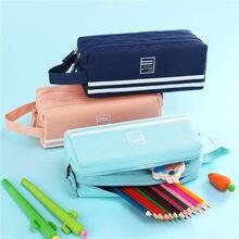 Large capacity School Pencil Cases Bag Canvas Double Zipper Pen Case Student Supplies пенал Stationery Storage 05176