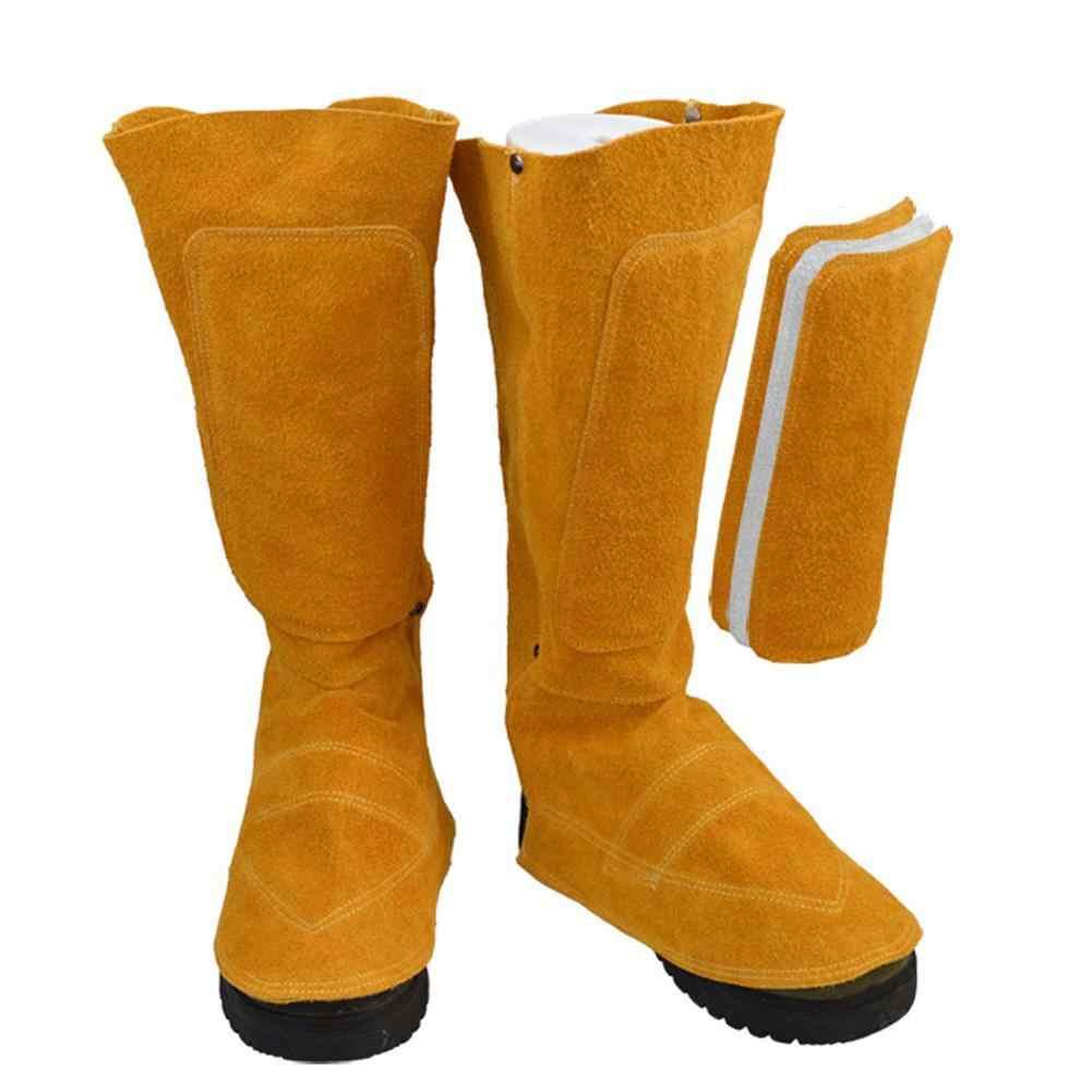 Protector de pies de piel de vaca de soldadura eléctrica de aislamiento resistente al desgaste de la flor de fuego polainas de pie soldador protectores de zapatos