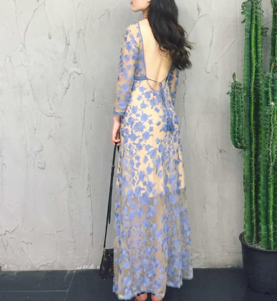 frauen spitze blumen midi kleider langarm minium blau kleid