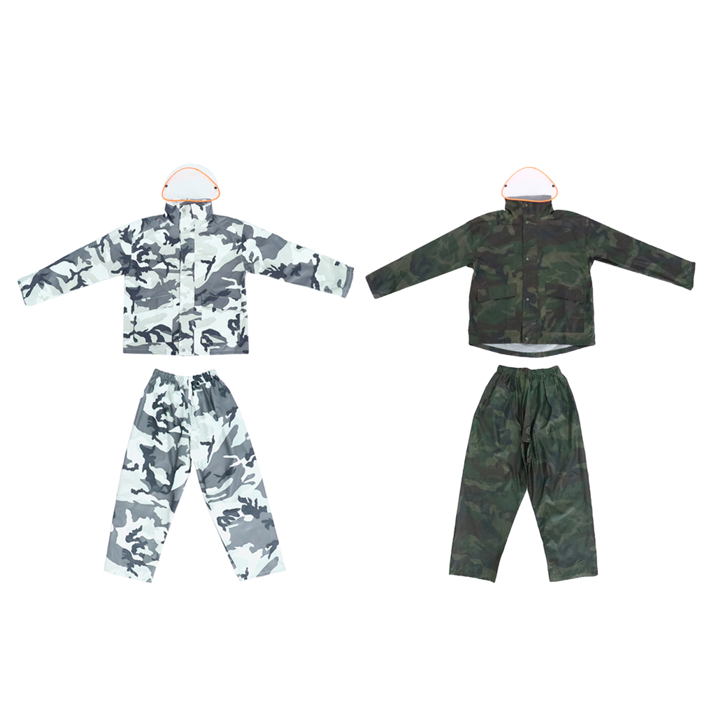 Men Women Waterproof Hooded Jacket & Pants Rain Suit Set M/L/XL/2XL/3XL Outdoor Hiking Fishing