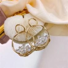 FYUAN Stile Coreano Geometrica Rotonda Orecchini A Pendaglio Per le donne Brillano Zircone Orecchini Di Cristallo Del Partito Dei Monili Regali