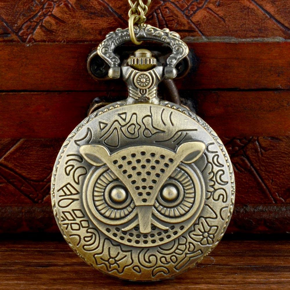 Retro Bronze Owl Face Quartz Pocket Watch Chains Antique Men Pendant Necklace Clock  Gift