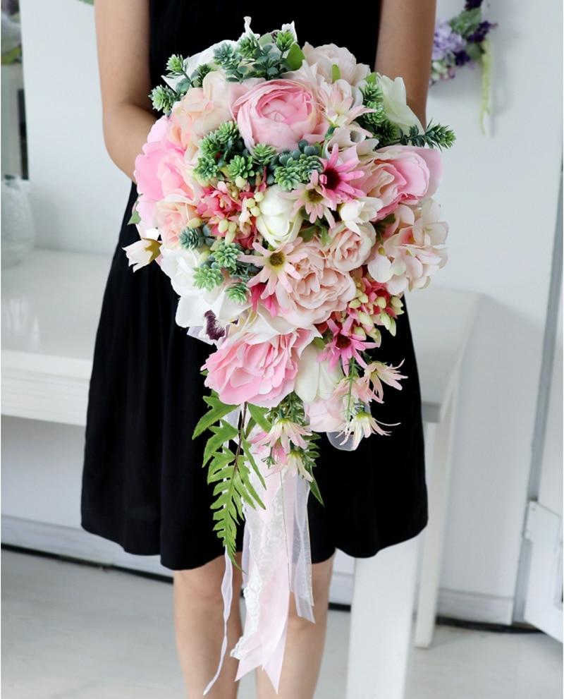 Pink Waterfall  Bridal Bouquet  Wedding Bouquet Rose peony Wedding Flowers Artificial Wedding flower de mariage